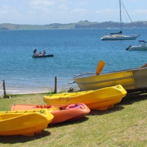 Kayaks and row boat for Tapeka del Mar guests