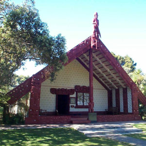 Maori meetting house at Waitangi Treaty grounds near Paihia in the Bay of Islands